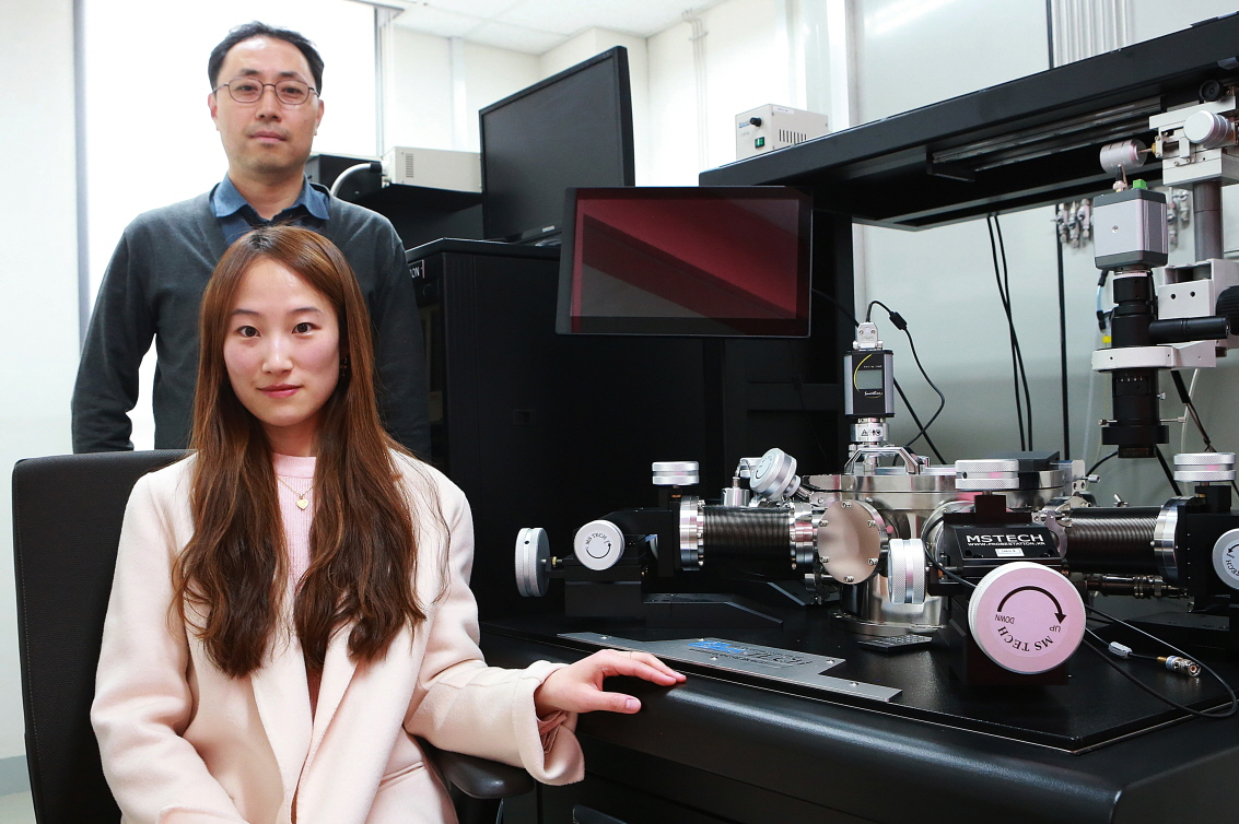 Professor Jae Eun Jang (back) and Ms. Su Jin Heo (front) next to their experimental setup, with which they observed how cracks formed and propagated in thin flexible conductors with various types of micro-hole arrays.