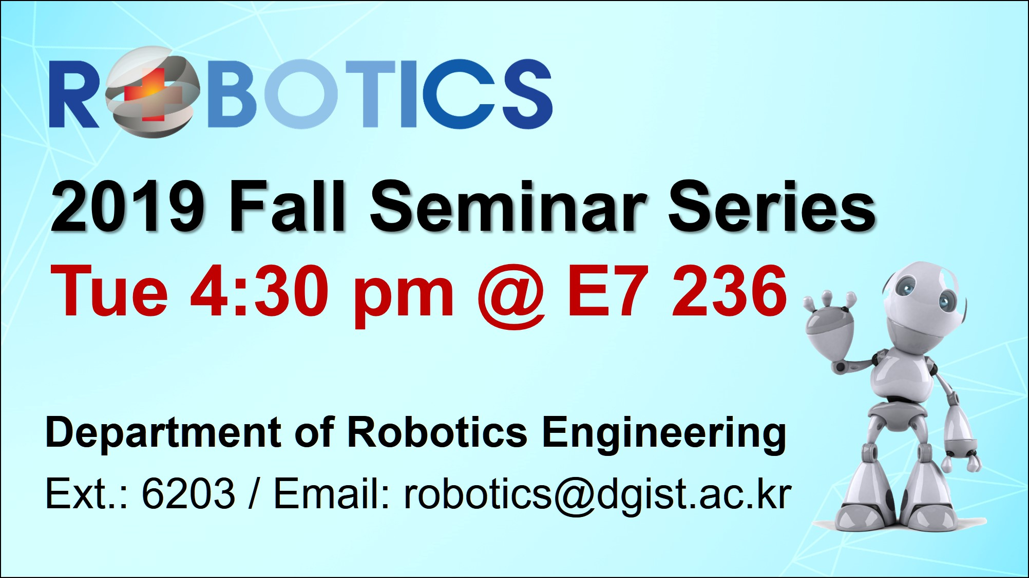 2019 Fall Seminar Seires of ROBOTICS 이미지